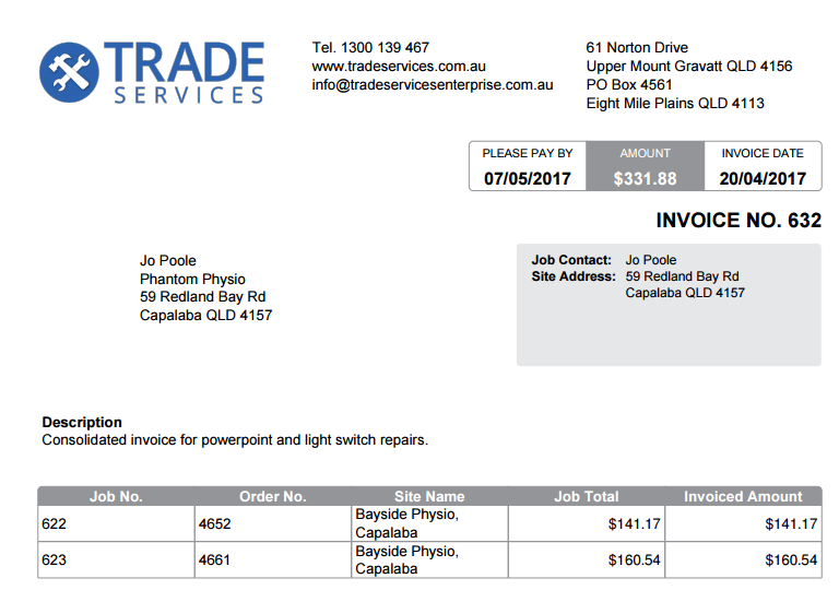how to set up invoice forms simpro