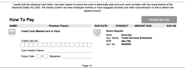 a screenshot of the how to pay section on an invoice form