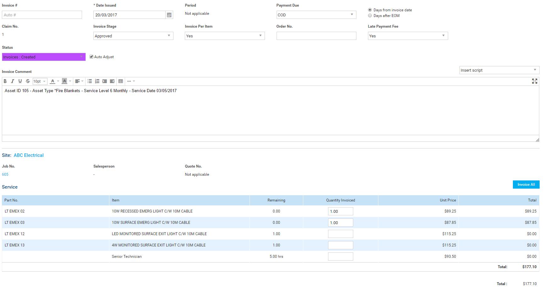 a screenshot of the invoice per item drop down