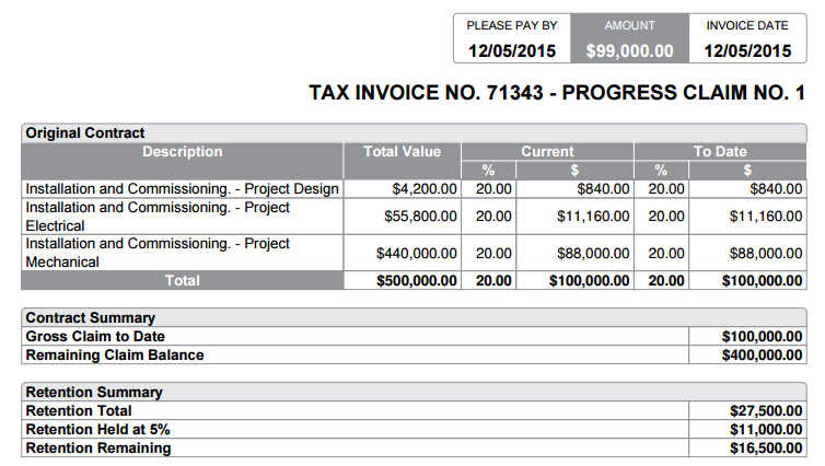 How To Set Up Retention SimPRO - Mechanical invoice