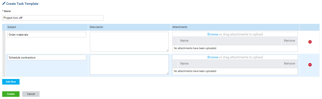 tasks template